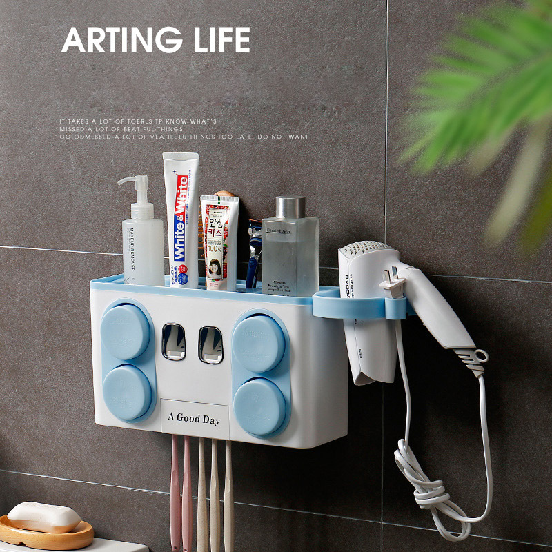 Four Cup Brush Holder Set Toothpaste Squeezer Automatic Bathroom Toilet Brush Wall Paste Mounted Toothbrush Holder Dropshipping