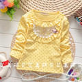 Мода девушка шею длинным рукавом футболки детские топы горошек хлопка майка детская одежда девушки футболка