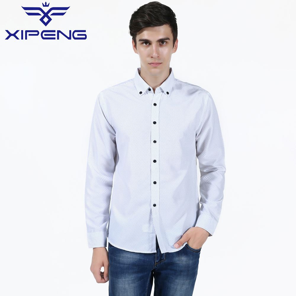 New Fashion Casual Men Shirt Long Sleeve Dot Anchor Print