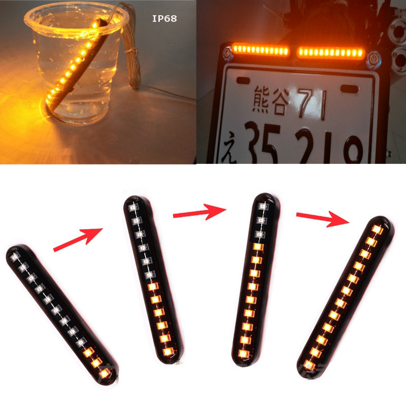 12 LED Flowing Water Strobe Strips Light Motorcycle ATV UTV Tail Brake Stop License Number Plate Flash Warning Amber Rear Lamp
