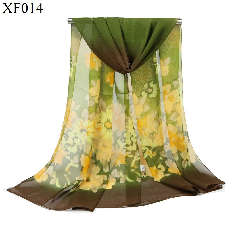 F&u Fashion Women Flowers Scarf Long Soft Flowers With Leaves Colorful Wrap Ladies Chiffon Scarves Luxury Shawl Warm In 4 Season To Ensure A Like-New Appearance Indefinably