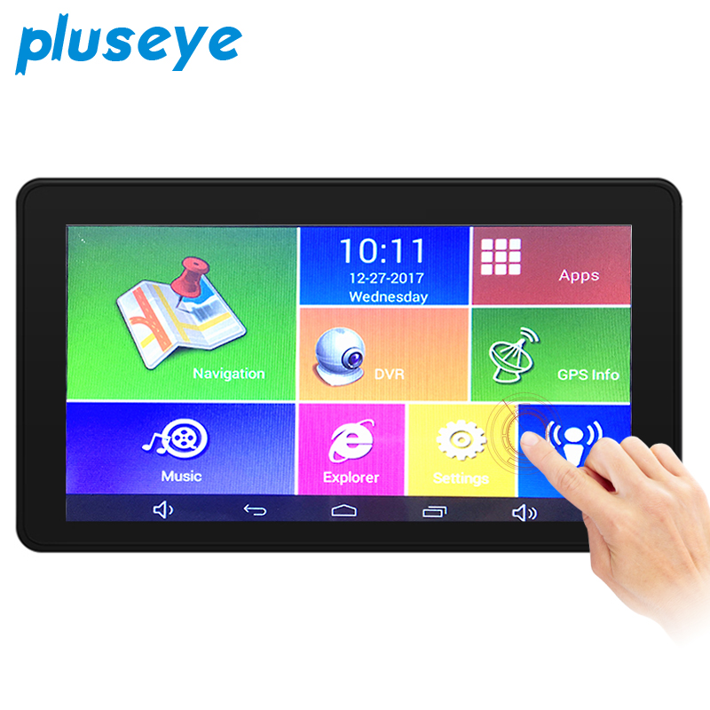 Pluseye 7 inch BlackBox Car DVR Camera Radar Detector Dual Lens GPS Navigation Android Free Map Car Video Camera Recorder