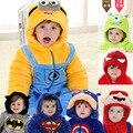 Outono & Inverno Roupa Do Bebê Recém-nascido Infantil Fleece Estilo Animais Roupas Romper Do Bebê Roupas de Algodão-acolchoado Macacão HT148