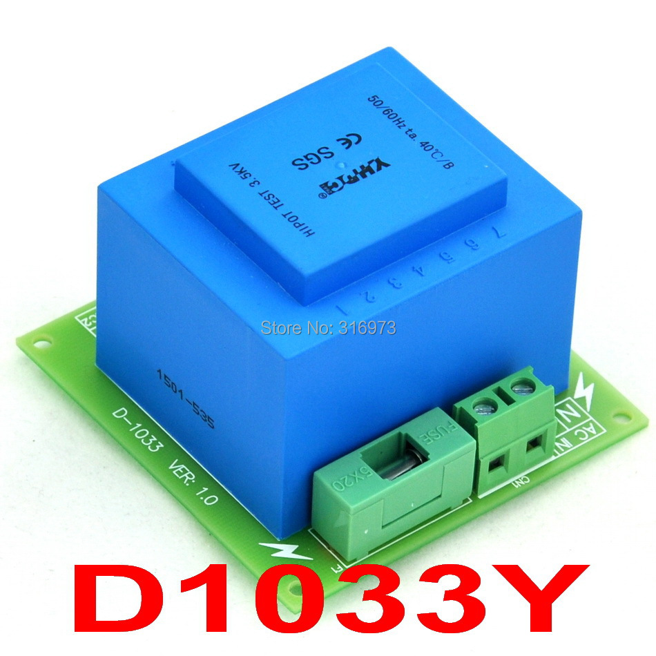 230VAC primaire, 2x 18VAC secondaire, Module de transformateur de puissance 20VA, D-1033/Y, AC18V230VAC primaire, 2x 18VAC secondaire, Module de transformateur de puissance 20VA, D-1033/Y, AC18V