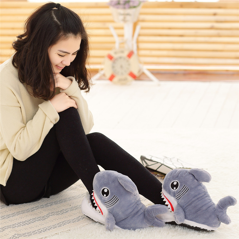 Winter Super Animal Funny Shoes For Men and Women Warm Soft Bottom Home&House Indoor Floor Shark Shape Furry Slippers Shallows 3