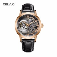 OBLVLO Casual Watches Mens Skeleton Dial Calfskin Leather Band Rose Gold Watches Automatic Watches for Men OBL8238