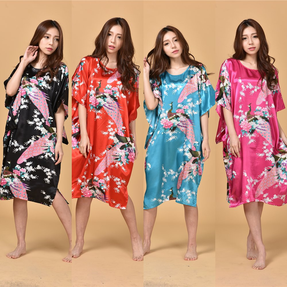 Extra Large Butterfly Sleeves Women   Nightgowns   Printed,New Arrival Elegant   Sleepshirts  ,Female Silk Nightwear Wholesale 010619