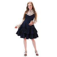 Elegant Gothic Steampunk Dress Vintage Victorian Gothic Lolita Dress Ball Gown Knee Length Japanese Cosplay Costume