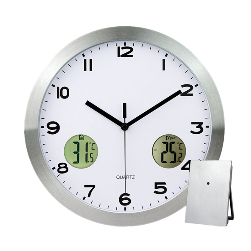 Stainless steel wall clock thermometer with indoor outdoor for Garden treasures pool clock