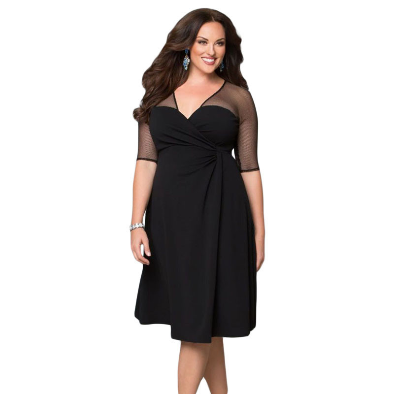 Dear lover Black V Neck Half Sleeve Sugar and Spice Plus Size Dress LC60671  Spring XXL Big Size Women Clothing For Party-in Dresses from Women s  Clothing on ... 1c917194a94e
