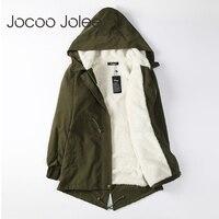 Jocoo Джоли для женщин мужские парки зимние пальто с капюшоном толстый хлопок теплая Женская куртка мода средней длины ватные пальт