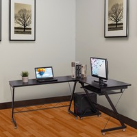 Lovinland l образный угловой компьютерный стол PC стеклянный стол для ноутбука для домашнего офиса США со склада