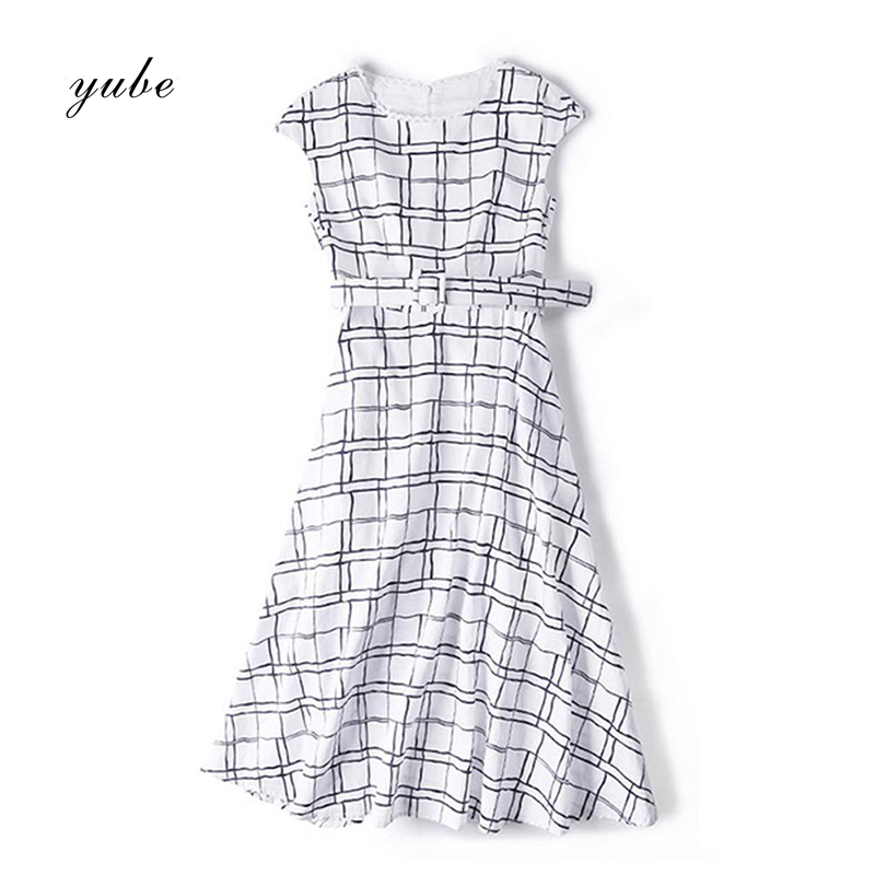 2018 New Fashion Women's Lace Collar Plaid in the Long