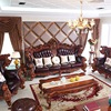 top luxury European and American style solid wood genuine leather sofa set living room furniture 2