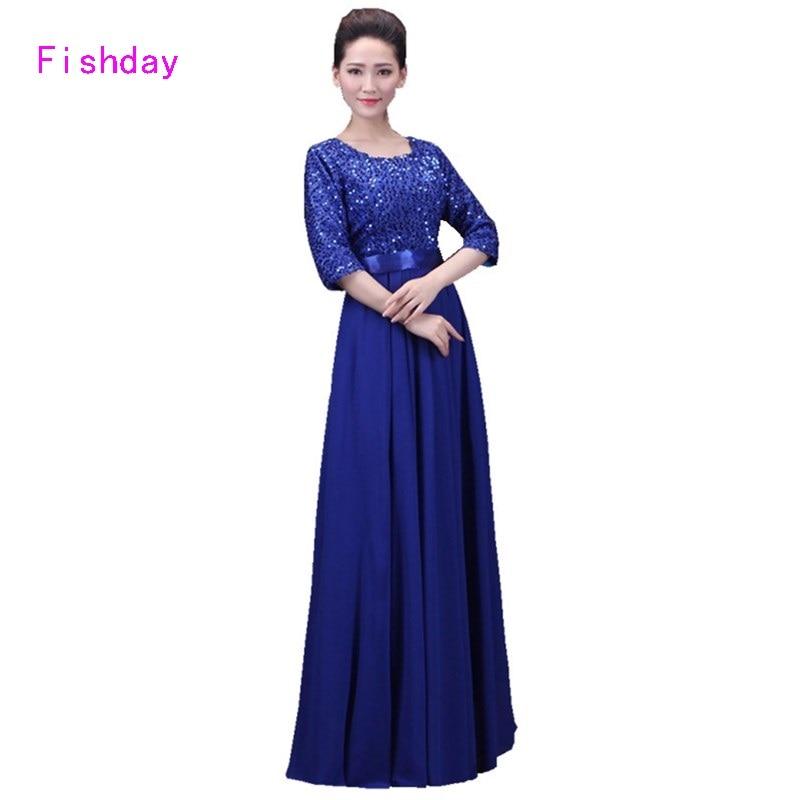 Fishday Robes De Soirée Longue Pourpre Bleu Rouge À Paillettes Une ligne Manches Formelle Élégante Robes pour Femmes Mère de Mariée B20