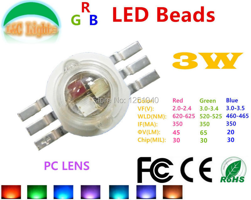 6 Pin 3W 6W 9W RGB 3 in 1 LED Epileds 30MIL 38MIL 45MIL Red 620 - 625 nm Green 520 - 525 nm Blue 460 - 465 nm 10Pcs/Lot CE