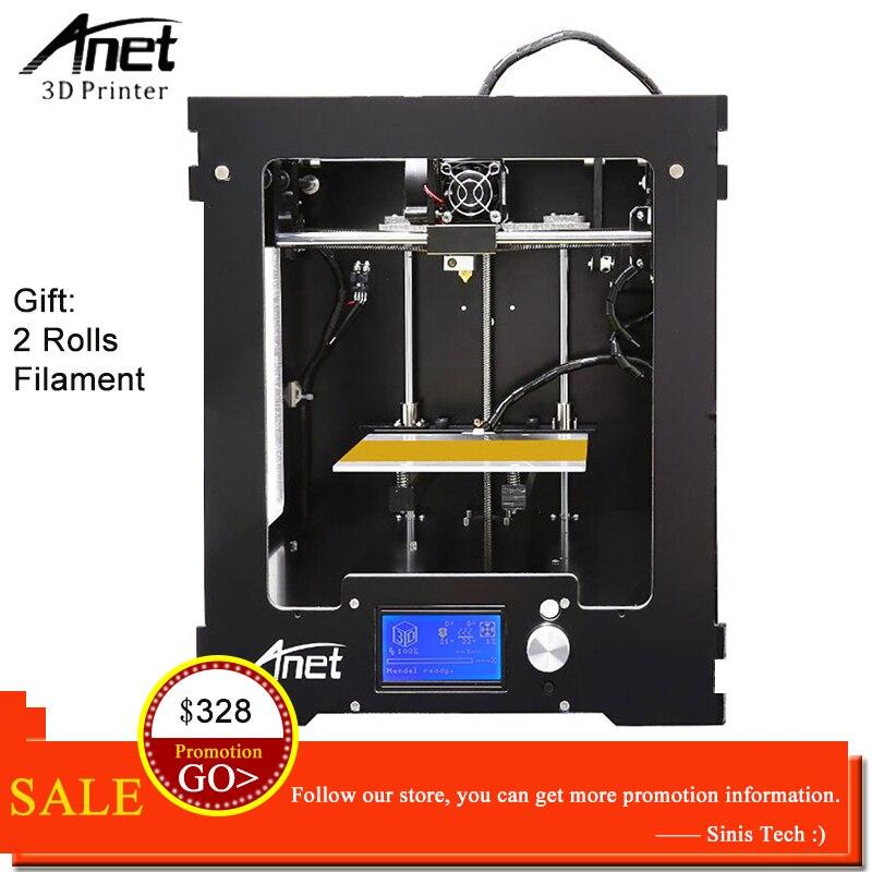 цена на Anet A3 3D Printer Machine Full Acrylic Assembled Reprap i3 3D Printer Kit with Filament 8G SD Card +Tool for Free Large