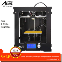 Anet A3 3D Printer Machine Full Acrylic Assembled Reprap i3 3D Printer Kit with Filament 8G SD Card +Tool for Free Large