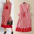 2017 Primavera Venda Quente Nova Marca Famosa Mulheres 3D desenhos geométricos dress casual vintage camisa de manga longa meados bezerro dress vermelho branco