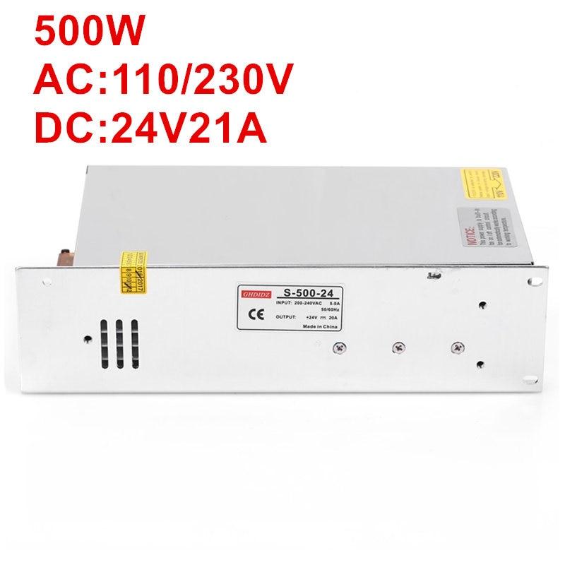 1PCS AC-DC 500W 24V power supply 24V LED Driver 24V 20A power supply 24V 500W S-500-24 high power supply 110/220VAC input 1pcs ac dc 200w 24v power supply 24v 8 3a 200w 100 240vac led5050 3520 s 200 24