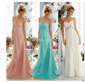 Sweetheart peach colored royal blue Coral Turquoise Long Chiffon Crystal Formal Evening Dress Prom Party Dress Gown 2014
