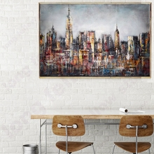 Retro Painting Wall Art Canvas Printed Empire State Building Landscape Picture for Home Decor City Metropolis Abstract Artwork