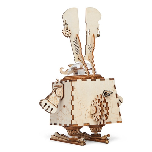 Robotime Creative DIY 3D Steampunk Rabbit Wooden Puzzle Game Assembly Music Box Toy Gift for Children Teens Adult AM481