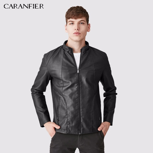 CARANFIER 2017 New Men Leather Jackets High Quality Motorcycles Bomber Jacket Pilot Leather Male Winter Waterproof Jacket