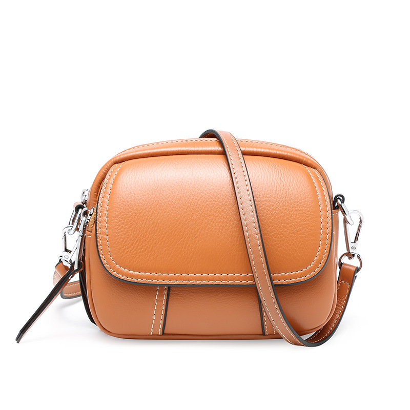 2019 Women s Genuine Leather Crossbody Bag Mini All match Zipper Bag Top Layer Cowhide Small