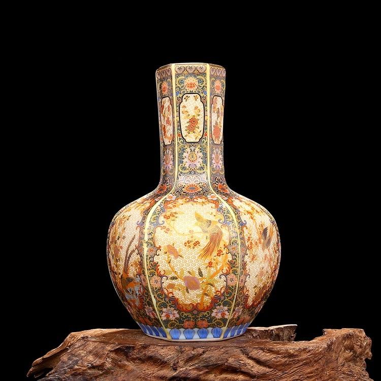 Chinese old Enamel colored porcelain vase Golden Hexagonal Flower and Bird Celestial ball BottleChinese old Enamel colored porcelain vase Golden Hexagonal Flower and Bird Celestial ball Bottle