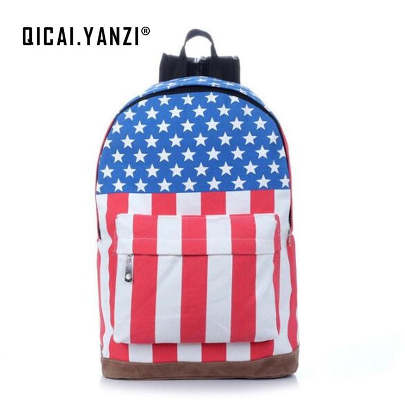 QICAI. YANZI Tela Zaino Bandiera Americana Borse Da Viaggio ...