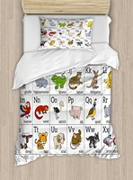 Duvet Cover Set Alphabet Learning Chart with Cartoon Animals Names Letters Upper and Lowercase 4 Piece Bedding Set
