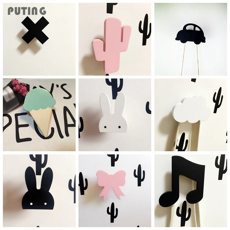 Cute bunny wooden clothes hook for kids room wall decorate for Wall hooks for kids room