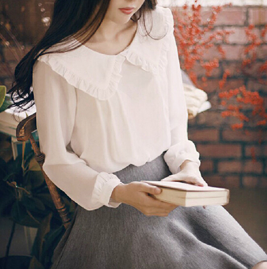 2016 Spring Women Long Sleeve Peter Pan Collar Sweet Chiffon   Blouse     Shirt   Casual Solid White   Shirt   Tops