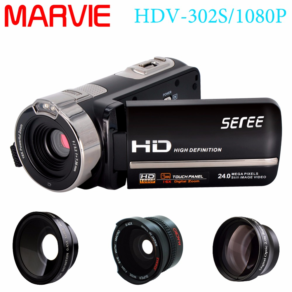 Marvie 3.0 LCD Touch Screen 24MP Remote Control Video Camera 1080P FHD Camcorder Recorder DV Night-Shot 16X Digital Zoom Cam