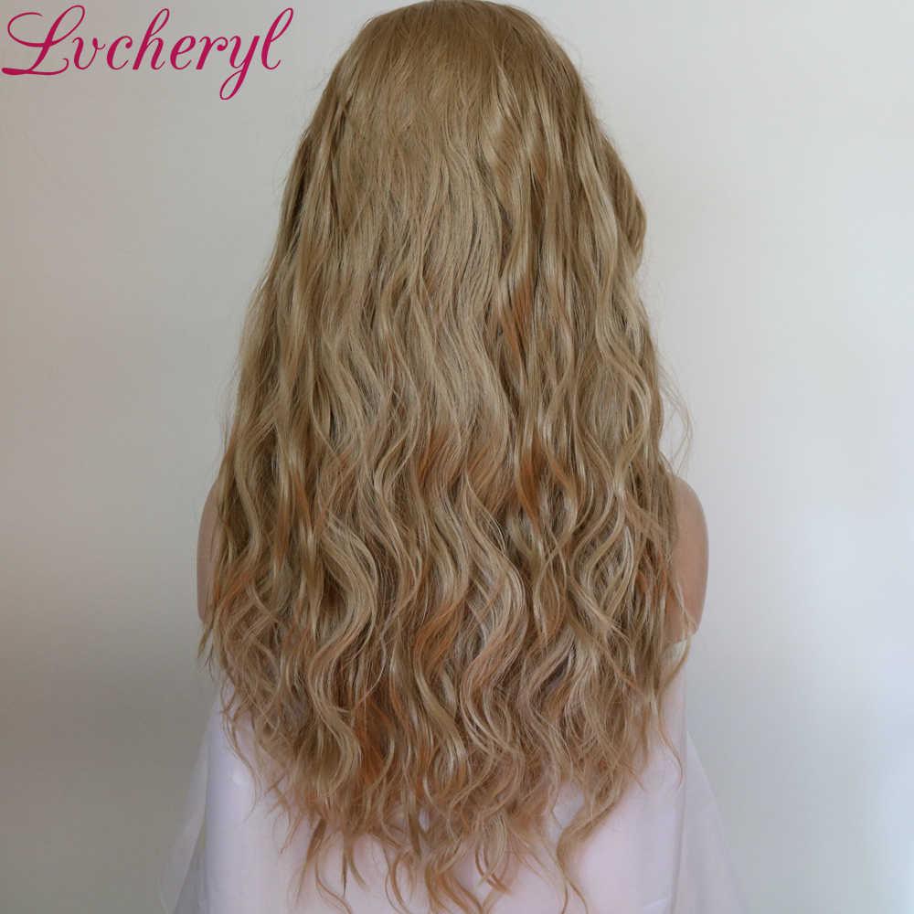 Lvcheryl syntetyczna koronka peruka Front naturalne fale blond kolor 13x6 syntetyczna koronka peruka Front Futura włosy koronkowe peruki dla kobiet