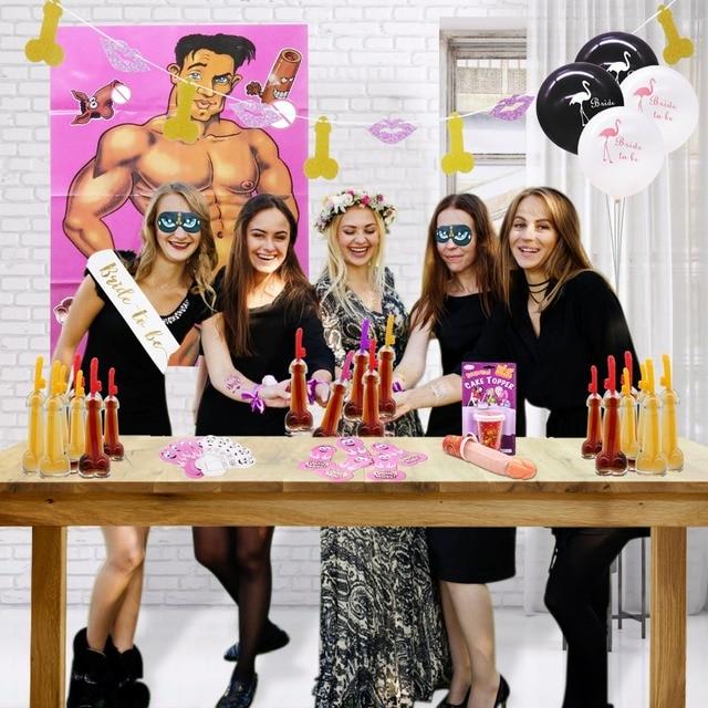 Straws Accessories Wedding Party Decors Veil Tiara Sash Hen Night Bridal Shower Bachelorette Theme