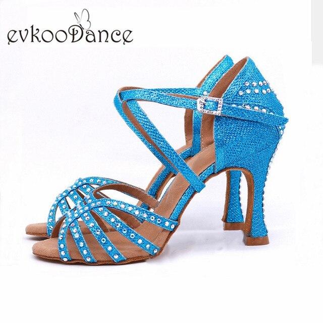 Schwarz Rot Farbe Tanzen Schuhe Frauen 4 farben Latin Salsa Tango Ballsaal Tanzen Schuhe für Damen mit High Heel 9cm Evk-512