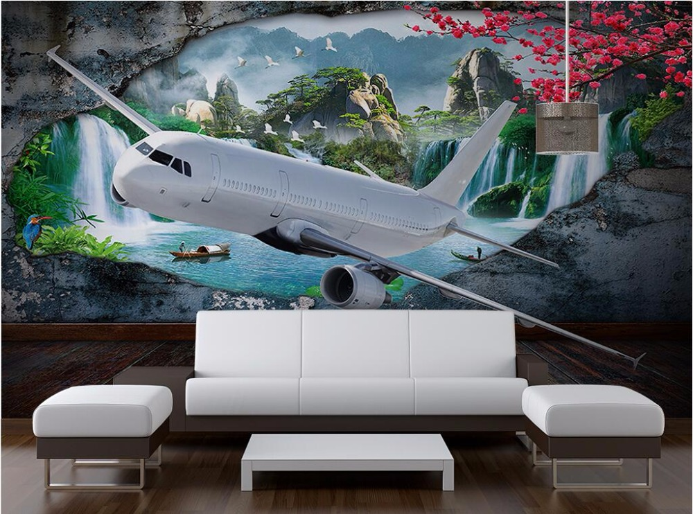 Custom photo mural 3d wallpaper Aircraft navigation scenery decor painting 3d wall mural wallpaper for living room walls 3 d custom mural 3d wallpaper chinese bird collection flowers bloom painting 3d wall murals wallpaper for living room walls 3 d