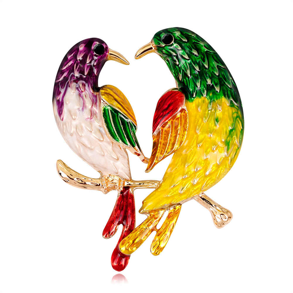 Fashion Korea Burung Bros untuk Wanita Pesta Hadiah Colorful Emas Bros Indah Bros Pin Kreatif Perhiasan Aksesoris