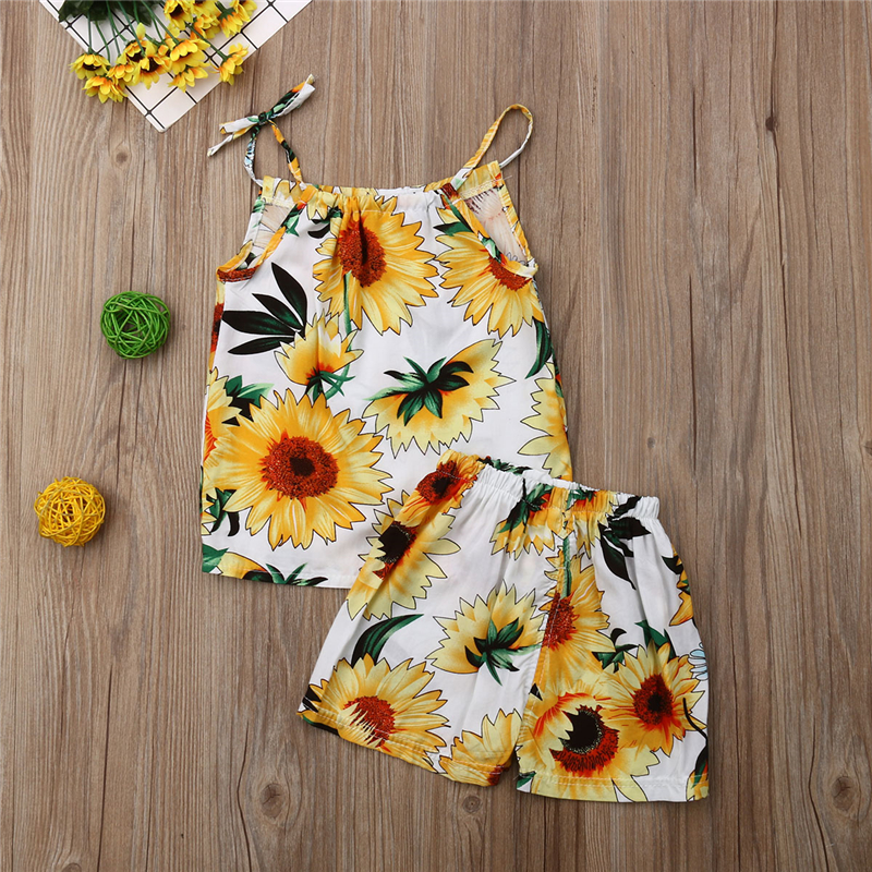 66af68f0a Toddler Baby Girl Sunflower Summer Clothes Sets Strappy Tops T shirt Vest+  Floral Shorts 2PCS Outfit Clothes Sets-in Clothing Sets from Mother & Kids  on ...