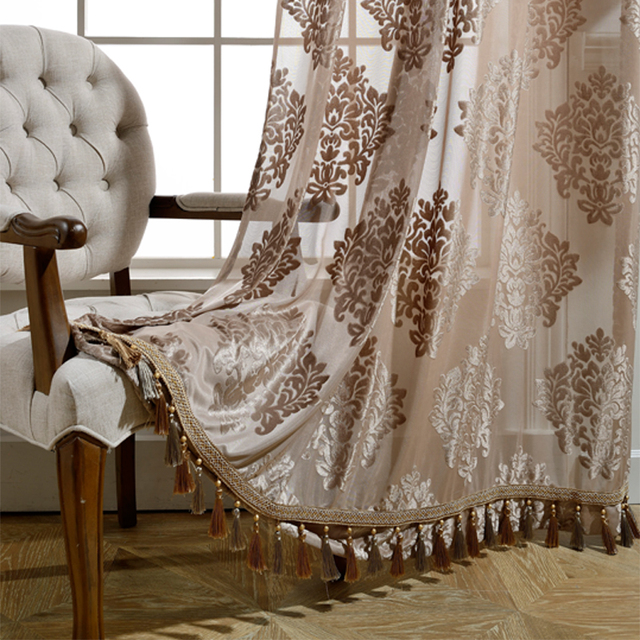 GIGIZAZA beaded decor door voile curtain tassel drape luxury for living room window curtain sheer tulle brown color custom size