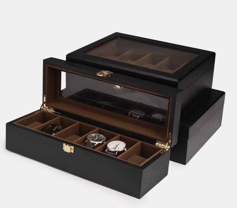 Top qualité 6/10/12 grilles montre stockage montre organisateur vitrine boîte en cuir luxe montre boîte pour titulaire Valentine cadeau - 2