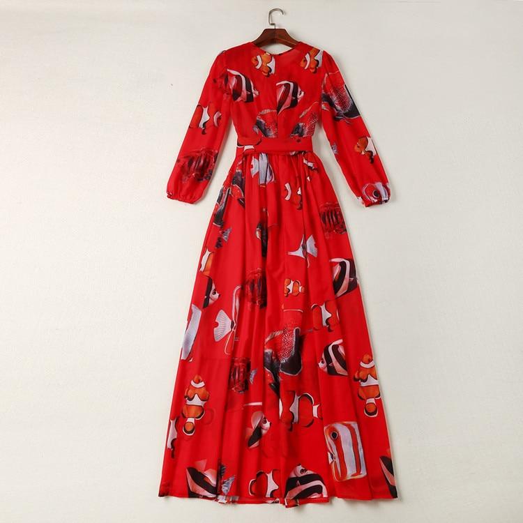 Impression Femmes Rouge Printemps Et Nouvelles Au D'été Rond De Robe Département Lanterne Manches Poisson Vêtements Ruban Col vqxxHdwT