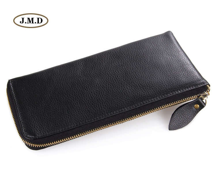 J.M.D High Quality Genuine Leather Brown Fashion Unisex Clutch Purse Portable Wallet Women Clutch Bag Money Pocket 8066A brown genuine leather menu holder restautant menu cover money receipt high quality accept customized order print your own logo