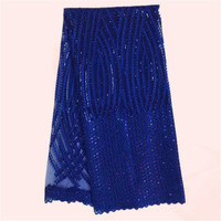 Elegant party dress material royal blue embroidery French net lace fabric African tulle cloth JNZ24-3 multi color