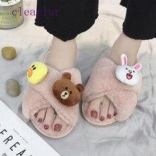 1c3451549f Chinelos femininos Sandálias Flats Engraçado Casa de Inverno Interior das  Mulheres Sapatos De Pele Quente Antiderrapante