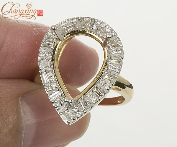 12x16mm PEAR SOLID 14KT GOLD Natural 1.0CT ROUND/BAGUETTE DIAMOND SEMI MOUNT ENGAGEMENT RING цена