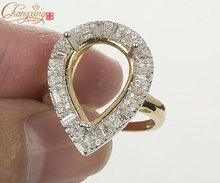 12x16mm PEAR SOLID 14KT GOLD Natural 1.0CT ROUND/BAGUETTE DIAMOND SEMI MOUNT ENGAGEMENT RING