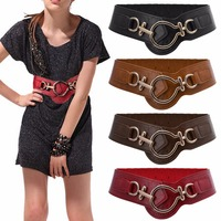 Female Belts Retro Chic Alloy Buckle Faux Leather Elastic Wide Belt Waistband For Women Dress
